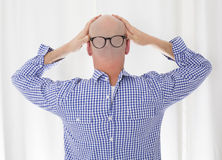 Back of a bald head with glasses Stock Photography