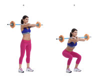 Back Barbell Squat. Step by step instructions: Load a barbell and spread your feet so that they're approximately 1 step further apart than shoulder-width stock photos