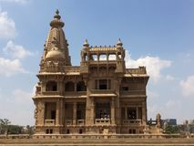 Back of Baron palace. The Baron Empain Palace is a distinctive and historic Indian-inspired mansion in Heliopolis, a suburb northeast of central Cairo, Egypt stock photography
