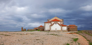 Back of the baroque church in the Sanctuary of Nossa Senhora do Cabo Royalty Free Stock Photos