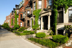 Back Bay, Boston. Building exteriors in the residential district of Back Bay, Boston Stock Photo