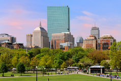 Back Bay from Boston Common. In the summer Royalty Free Stock Images