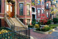 Back Bay Facades. Facades of Back Bay brownstones in the fall Stock Image