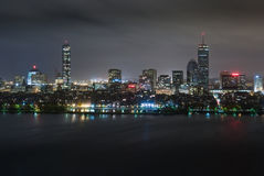 Back Bay Overcast Night Aerial Stock Photography