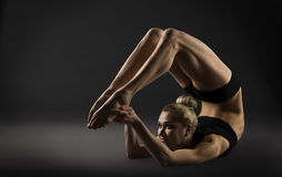 Back Bend Stretching Posture, Bending Woman Acrobat Gymnastics Stock Image