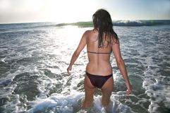 Back bikini woman against sun Royalty Free Stock Images