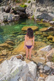Back bikini woman looking water pond Royalty Free Stock Photo