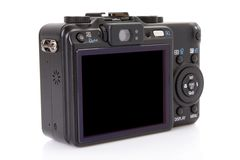 Back of black digital compact camera Stock Image