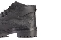 Back of black leather boot. Royalty Free Stock Photo