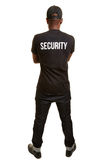 Back of black man from security firm Royalty Free Stock Photos
