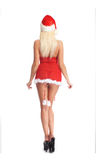 Back of a blond woman in erotic Christmas lingerie Royalty Free Stock Photos