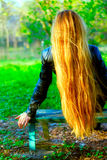 Back of blond woman with long beautiful hair Royalty Free Stock Images