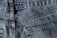 Back of blue jeans texture Royalty Free Stock Images