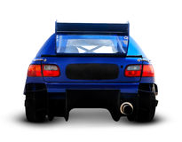 Back of a Blue Race Car Stock Photography
