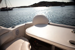 Back of the boat. View of the back of a day cruiser boat Royalty Free Stock Photos