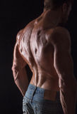 Back of bodybuilder man. Perfect tanned back of bodybuilder man posing in photo studio. Handsome man demonstrating his mascular back isolated on black Royalty Free Stock Photography