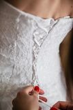 Back of bride in wedding dress Stock Image