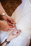 Back of bride in wedding dress Stock Photos