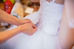Back of bride in wedding dress Royalty Free Stock Images