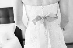 Back of brides wedding dress stock photography