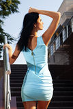 Back of brunette in blue dress Royalty Free Stock Images