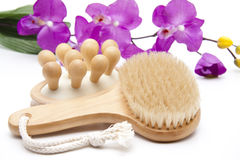 Back brush with massage brush Stock Images