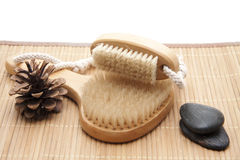 Back brush and nailbrush with bristles Royalty Free Stock Photo