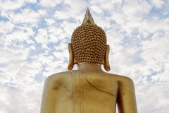 Back of Buddha. In the blue sky Royalty Free Stock Photo