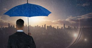 Back of business man with umbrella against skyline with sunset. Digital composite of Back of business man with umbrella against skyline with sunset stock illustration