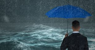 Back of business man with umbrella against stormy sea with rain. Digital composite of Back of business man with umbrella against stormy sea with rain royalty free illustration