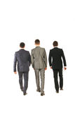 Back of business men walking. Back of three business men walking isolated on white background Stock Photography