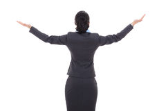 Back of a business woman with her hands in the air Royalty Free Stock Photos