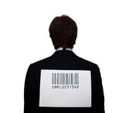 Back of businessman with barcode Royalty Free Stock Photos
