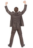 Back of businessman thumbs up, rear view Royalty Free Stock Images