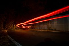 Back car light trails. royalty free stock photo