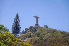 The back of Christ the Redeemer Statue and Corcovado Mountain - Rio de Janeiro, Brazil royalty free stock photography