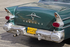 Back of classic cuban car. The back of old classic aqua blue cuban car. Past international embargoes have meant Cuba has maintained many pre-revolutions vehicles Royalty Free Stock Photography