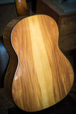 Back of classic wooden guitar Stock Photo