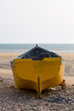 Back of colored fishing boat on the beach of Sidi Kaouki Stock Photos