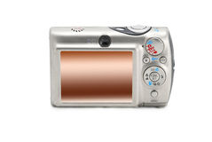 Back of compact photo camera isolated over white Royalty Free Stock Photo