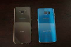 Back comparation Samsung s8 plus and s7 edge smartphone Stock Photo