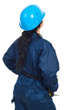 Back of constructor worker woman Stock Photo