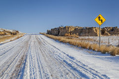 Back country road over prairie Royalty Free Stock Photos