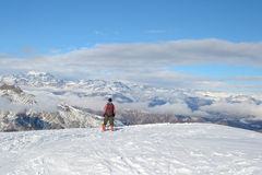 Back country skiing in the Alps Royalty Free Stock Images
