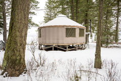 Back country Yurt winter forest with snow Royalty Free Stock Photos