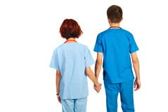 Back of couple of doctors Royalty Free Stock Photo