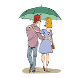 Back a couple man and woman walking under an umbrella Vector Illustration