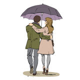Back a couple man and woman walking under an umbrella Royalty Free Illustration