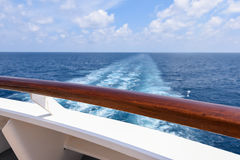 Back of cruise ship overlooking the ocean. Royalty Free Stock Photos