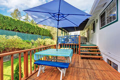 Back deck with stained wood. Stock Photos